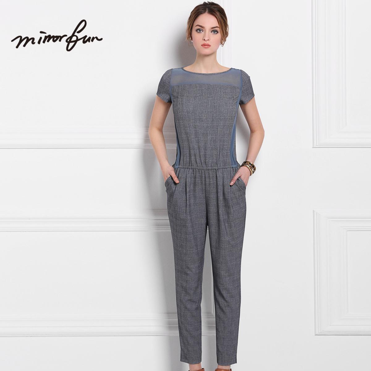 mirror fun 2015夏装新款 大气暗纹真丝连体裤 上架待定请先收藏