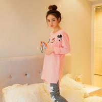 春秋甜美长袖长裤女士家居服可爱小鸭韩版休闲舒适起居服针织睡衣