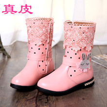 Children shoes winter seven girls han edition of tube 8 leather and wool cotton boots boots 9 15 years old girl short boots