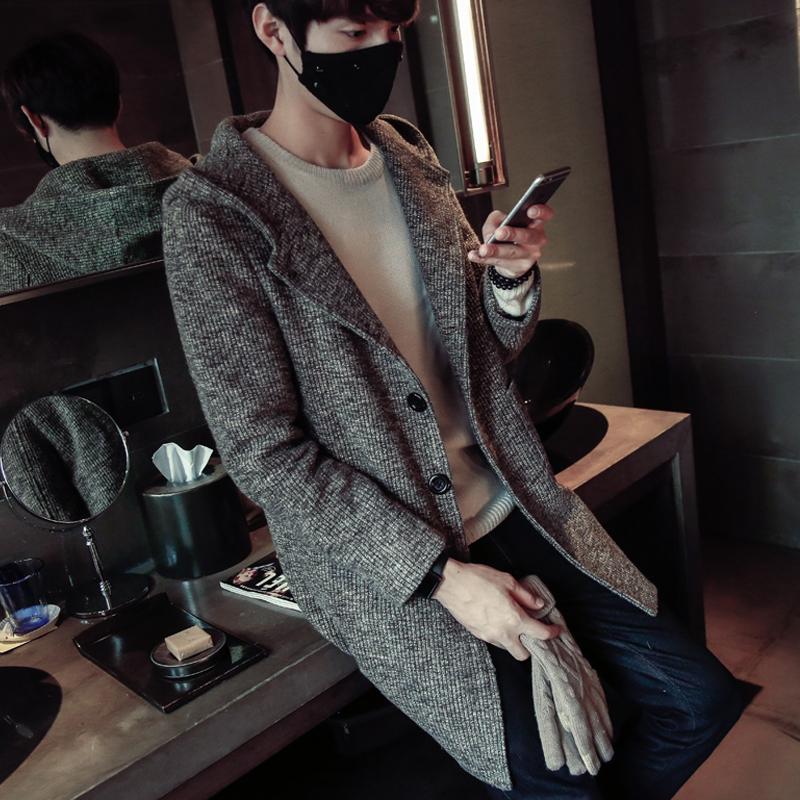 潮男士毛衣针织衫男开衫男装韩版纯色中长款秋季休闲外套连帽加厚