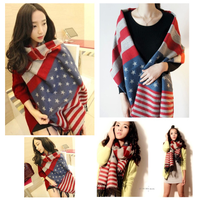 2014 new autumn and winter scarf shawl Korean female Korean wave American flags cashmere knit long thick