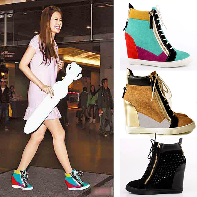 European stations GZ increased casual shoes Korean version of the star with spell color high-heeled leather shoes slope with high shoes