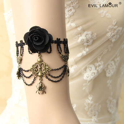 Full 48 shipping back retro dance fashion chain bracelet with black armbands arm chain bracelet Rose Wedding accessories