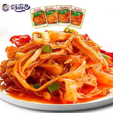 俏嘴巴香辣金针菇 四川特产零食独立小包装500g 香辣金针菇包邮