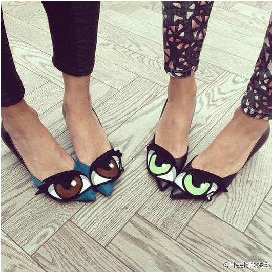 Hot 2014 new shoes in Europe and America PH cartoon character with big eyes spell color high-heeled shoes with thin pointed shoes