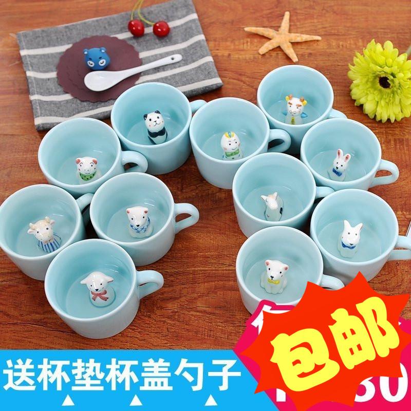 可爱动物马克杯牛奶咖啡杯情侣杯生肖杯3d立体萌物陶瓷杯杯子定制