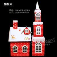 圣诞纸质雪房子 雪屋子 圣诞节装饰品 装饰房子 圣诞装饰