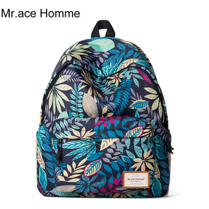 Mr.Ace Homme双肩包新款韩版正品防水印花帆布书包学生女旅行包