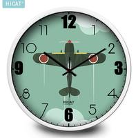 包邮卡通复古机动飞机挂钟创意潮流电子石英厨房客厅家居壁挂时钟