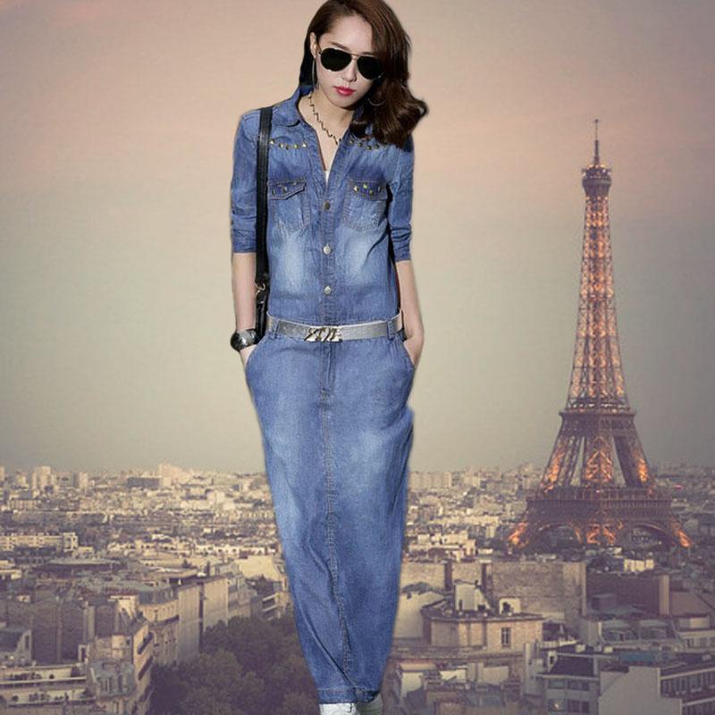 Женское платье 2014 длинные юбки осень платье крепежа заклепки продаваемым джинсовая юбка случайные улица в Европе и длинное платье рукав