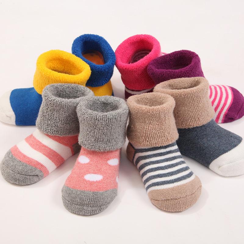 2016新款秋冬毛圈加厚宝宝袜子棉袜无骨中筒婴儿袜子0-3岁4双装