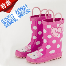 South Korea's parent-child outfit galoshes Rain boots children waterproof non-slip shoes of the girls Autumn and winter to keep warm cartoon rubber shoes bag mail