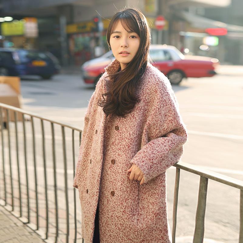 加厚夹棉粗花呢蝙蝠袖茧形羊毛呢大衣