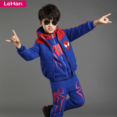 2014 Boys Boys thick winter sweater three-piece three-piece velvet spider pattern cartoon baby winter
