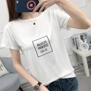 2017夏装新款短袖t恤女韩版低圆领简约百搭宽松印花白色打底衫潮