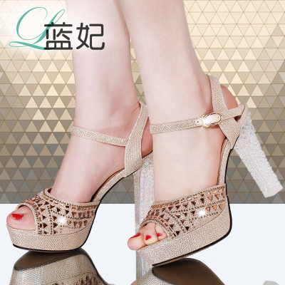Ms. Blue Princess 2014 new summer sandals female high-heeled sandals fish head thick with rhinestone hollow comfortable shoes