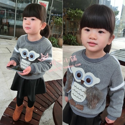 Latest Korean children, boys and girls winter baby owl sweater thick cashmere pullovers in Europe and America
