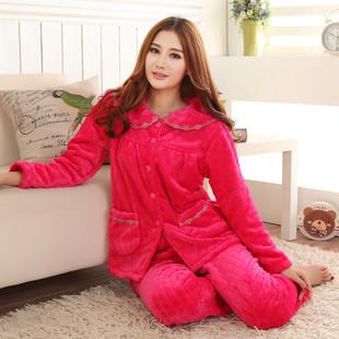 特价睡衣 法兰绒加厚女人睡衣冬季保暖珊瑚绒睡衣品牌加大码睡衣