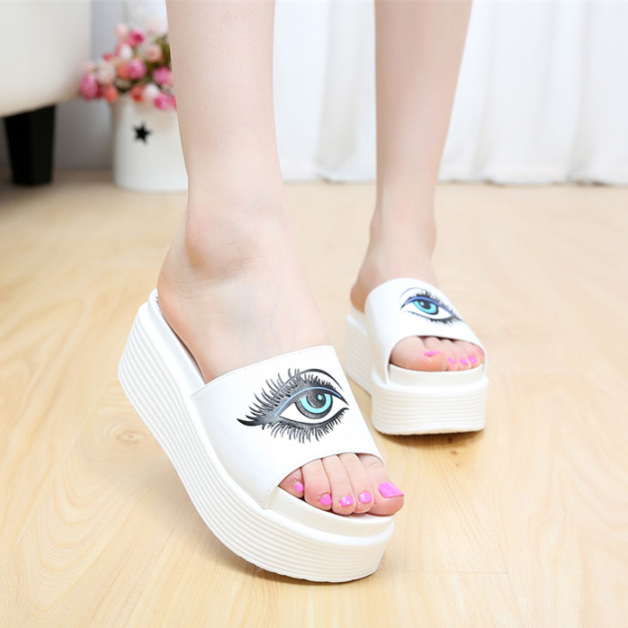 2014 summer new lady slippers tide dragged the word muffin heavy-bottomed sandals with big eyes white high heels