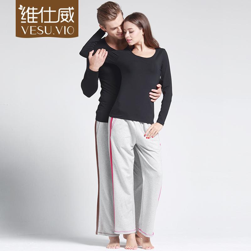 维仕威2016新款情侣长裤女士棉质家居裤男士睡裤薄款瑜伽裤宽松