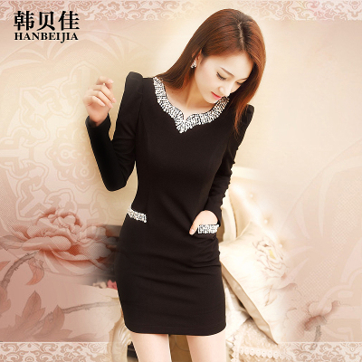 Han Beijia 2014 fall and winter clothes new big temperament was thin long-sleeved woolen dress Slim package hip skirt bottoming