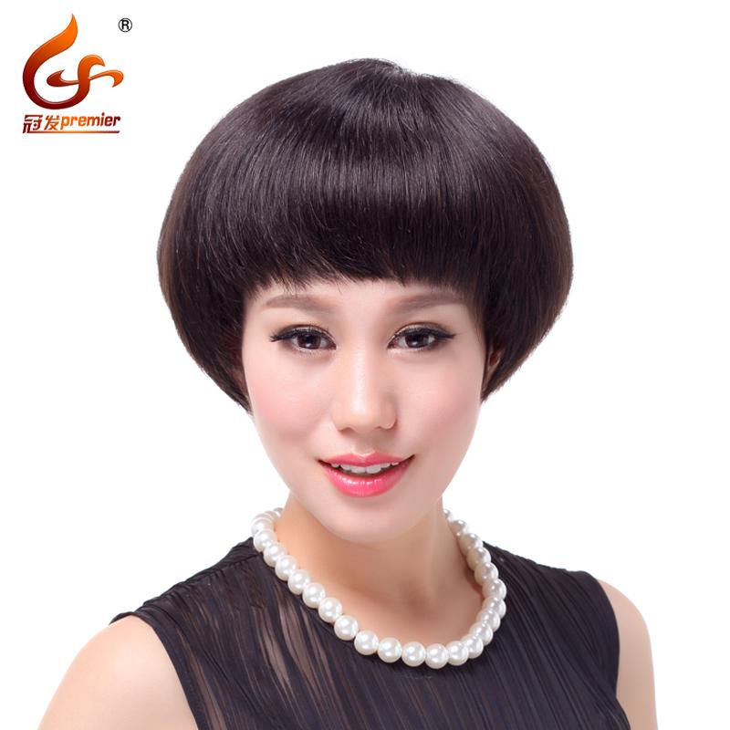 真人发 女士假发 波波头 短直发 斜刘海时尚女生假发真发假发套女