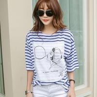 韩国五分袖蓝白条纹中袖T恤女夏装韩版宽松大码纯棉短袖学生上衣