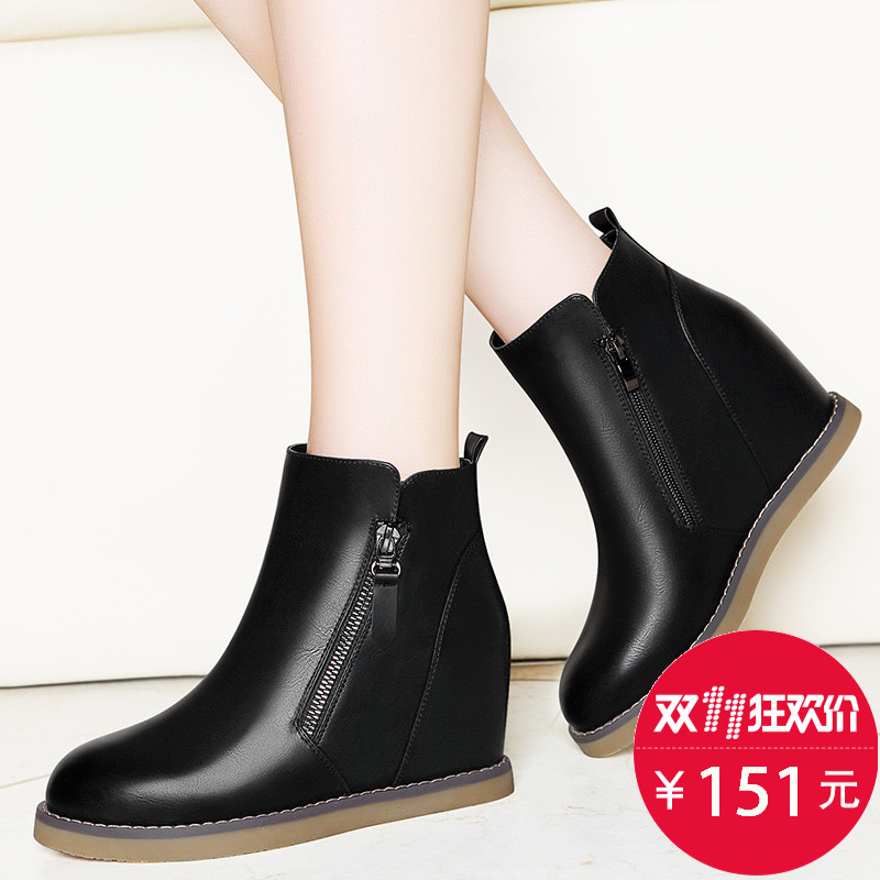 女鞋2016秋冬新款马丁靴女平底平跟内增高短靴短筒休闲百搭增高鞋