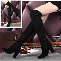 欧美新款尖头高跟鞋女过膝长靴细跟真皮瘦腿靴蕾丝过膝弹力靴女靴