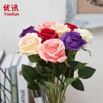 仿真玫瑰花绢花假花装饰单只仿真玫瑰花客厅摆设装饰品