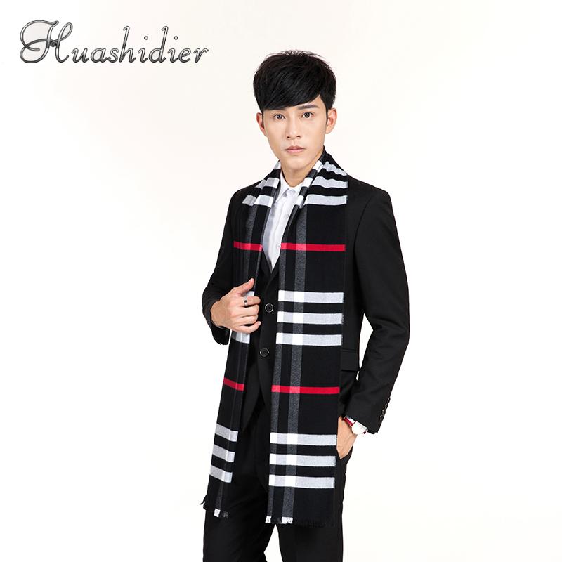 男士围巾秋冬季格子年轻人学生长款加厚保暖仿羊绒商务围脖潮韩版