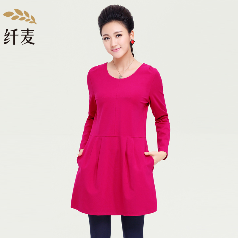 纤麦特加肥加大码女装胖mm 秋装新款时尚宽松显瘦长袖连衣裙13910