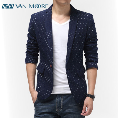 2014 Spring and Autumn new Korean wave point tide Slim small suit men's casual men's small suit jacket