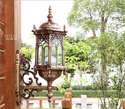 European-style garden lights outdoor wall lamp outdoor garden terrace villa full of retro bronze waterproof large craft wall lamp