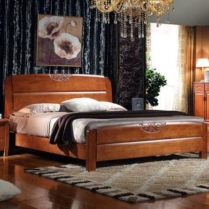 全实木床1.5米 1.8米 橡木床 双人床现代简约中式家具 高箱储物婚
