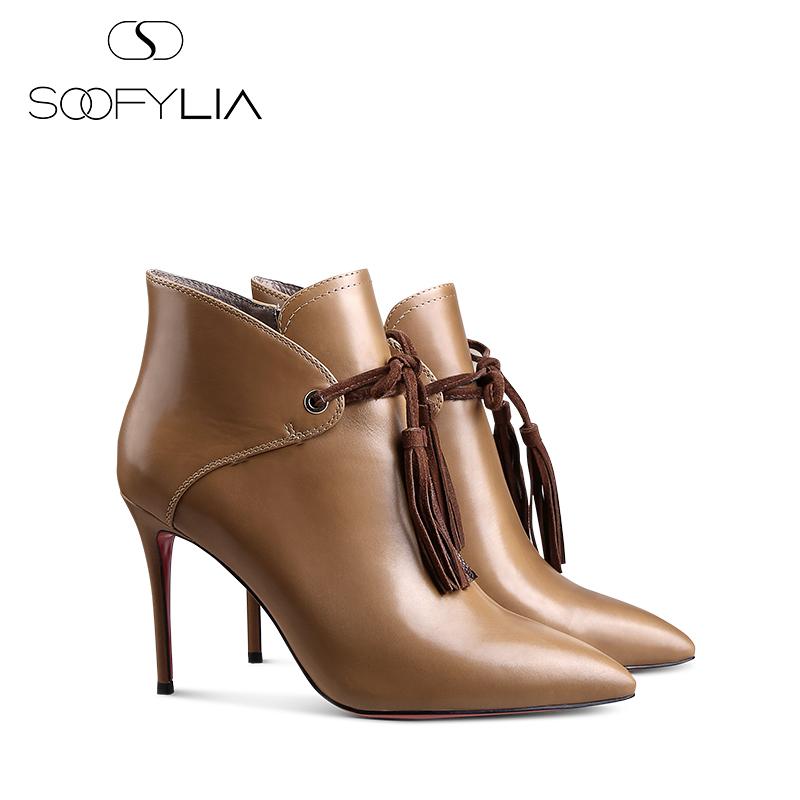 【名媛】SOOFYLIA 宴会女鞋 秋冬牛皮尖头细跟短靴女高跟牛皮靴子图片