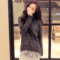 韩国加厚高领毛衣 秋冬新款韩版宽松口袋设计套头长款毛衣外套女