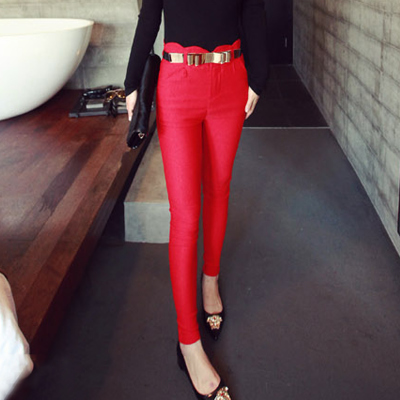 Winter of tall waist cloth pants qiu dong with skin woolen cloth boots large code base female trousers slacks trousers button