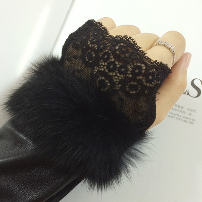 Free shipping rabbit fur cuff long section of PU Pilei Si half finger gloves warm winter fashion barreled arm sleeve wholesale