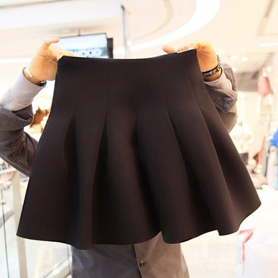Thick winter skirt pleated skirt autumn and winter large yards fat MM significantly thin waist black skirt space cotton skirts