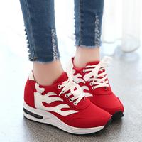 2015秋季新款内增高女鞋韩版运动鞋拼色跑步鞋系带潮单鞋休闲鞋