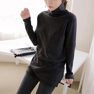 秋冬季加绒纯色高领打底衫女长袖中长款t恤女大码宽松棉体恤