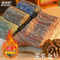 日系冬季原宿民族风袜子男加绒加厚保暖毛圈复古棉袜潮中筒袜长袜