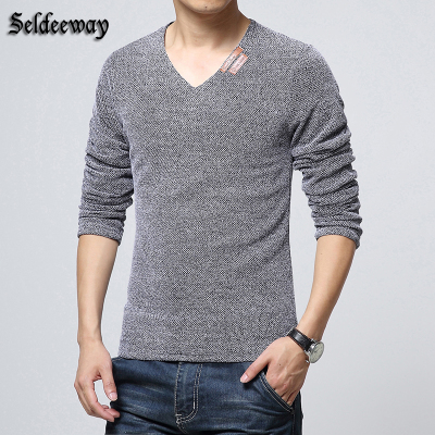 Saude Hui velvet autumn and winter men's long-sleeved T-shirt male Korean Slim V-neck men's tide hollow solid primer shirt