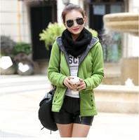 秋冬季女装韩版加绒卫衣女中长款卫衣外套中学生加厚开衫保暖外衣