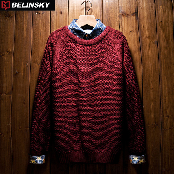 belinsky2014 Korean thick winter sweater men hedging Slim round neck sweater sweater coat tide