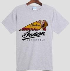 速卖通Indian Motorcycle 印第安摩托 赛车 短袖T恤男女圆领纯棉