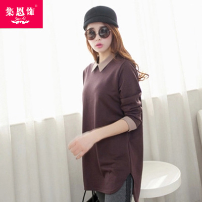 Well decorated sets new winter 2014 Korean version of the loose long-sleeved T-shirt models female fat mm solid primer shirt tide