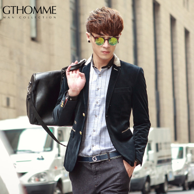 GTHOMME 2014 new autumn and winter high-end gold velvet suit original design Slim small suit single Western men