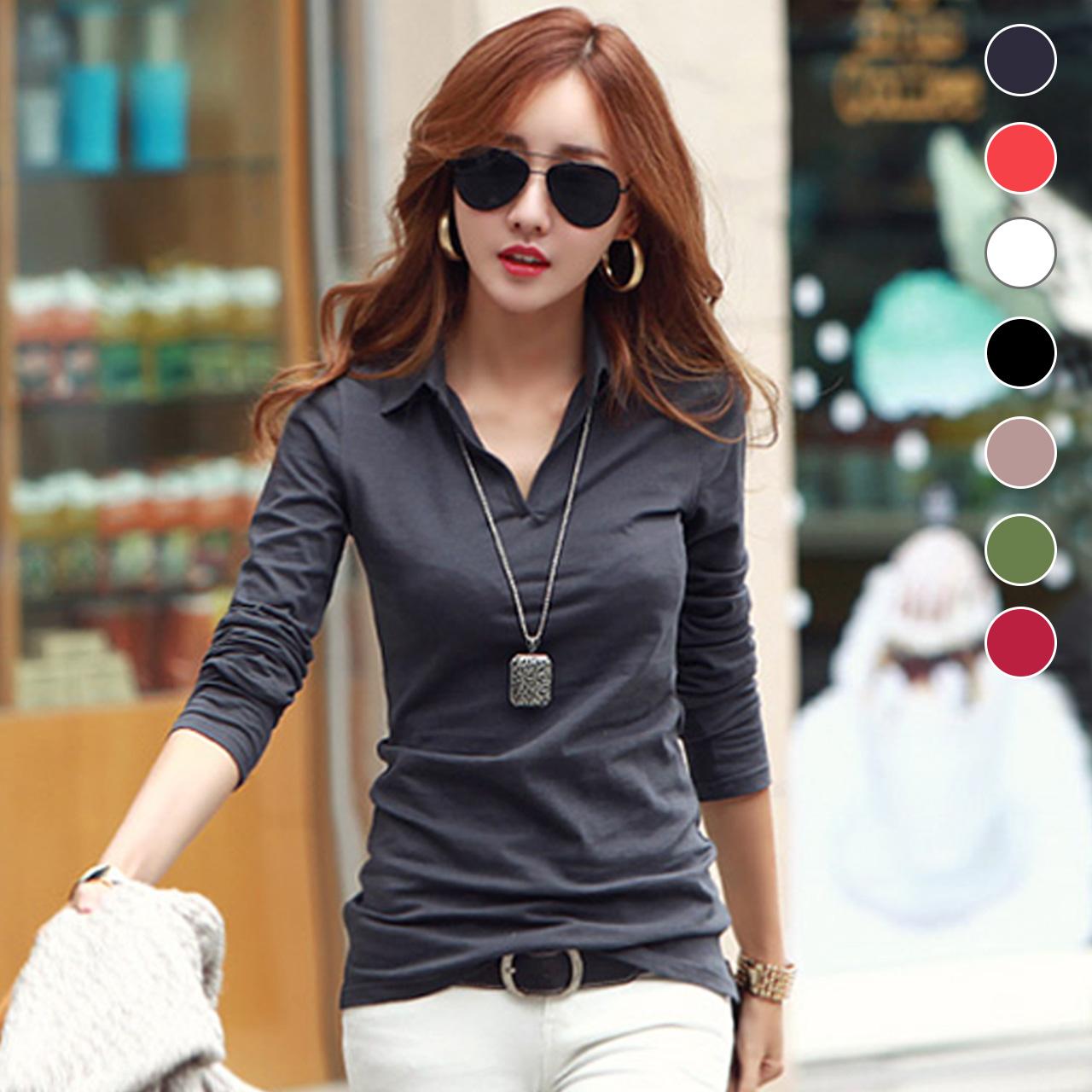 秋装新款女装韩版修身显瘦纯色纯棉V领长袖t恤女小衫打底衫上衣